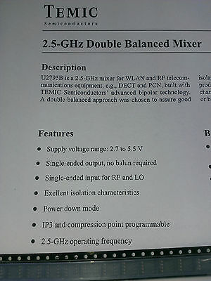 [10 pcs] U2795B Double Balanced Mixer 2.5GHz SO8 Temic(TFK)