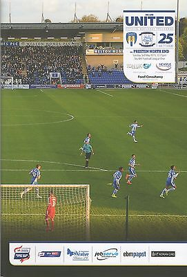 Colchester United v Preston North End programme, Skybet League One, 2014/15