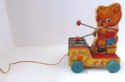 Vintage 1955 Fisher Price Tiny Teddy 634 Wooden Xylophone Playing Pull Toy