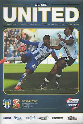 Colchester United v Swindon Town programme, League 1, 2015-16