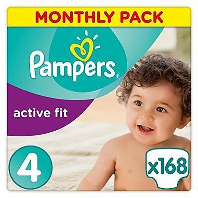 Pampers Active Fit Nappies Monthly Saving Pack Baby Dry Size 4