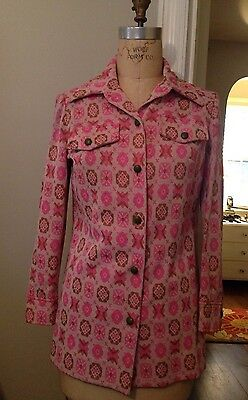 Vintage Ladies Leisure Suit Jacket Disco Mod Pink Green Polyester Knit Size 8