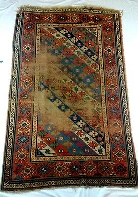 Vintage Distressed Wool Flat Weave Turkish Style Rug Well Worn 70x43 Rectangular
