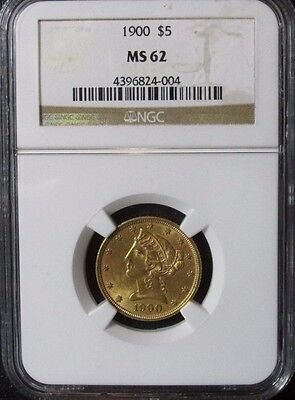 1900 $5 Half Eagle Five Dollar Gold Coin NGC MS 62