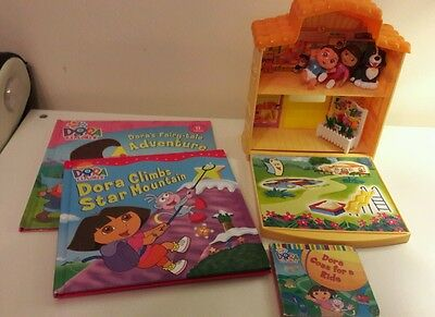 Dora the explorer toys bundle house figured books clean used condition.