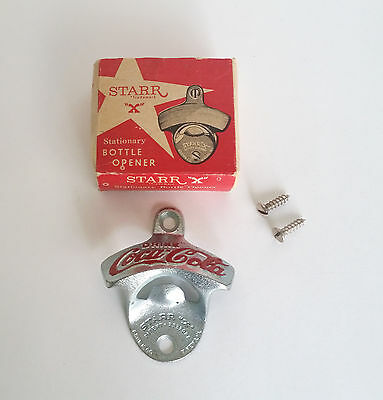 Vintage Starr X Coca Cola Soda Bottle Opener Stationary Metal Wall Mount