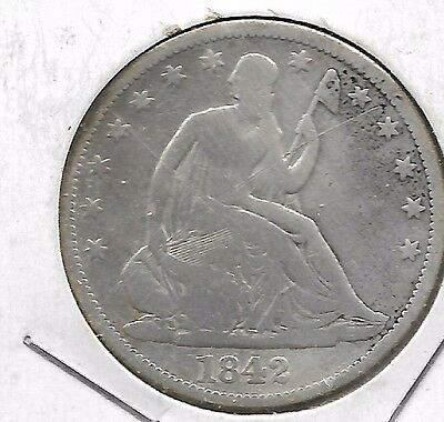 1842 Seated Liberty Half Dollar Nice details Great Circulated coin