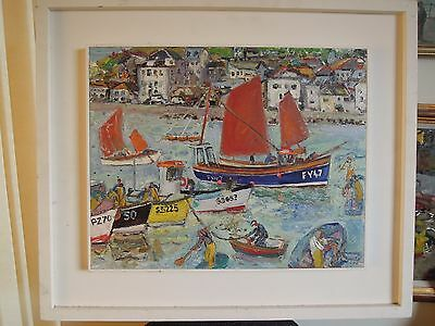 Linda Weir 1951 Signed Oil Painting Of Fishing Boats In St Ives