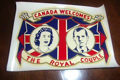 Canada Welcomes The Royal Couple---1950's Elizabeth 11 & Prince Philip--Decal