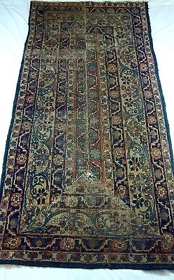 Vintage Antique Distressed Wool Floral Flat Weave Hand Knotted Runner Rug Worn