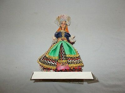 Vintage made in Greece hand decorated tourist travel souvenir doll 7 inch