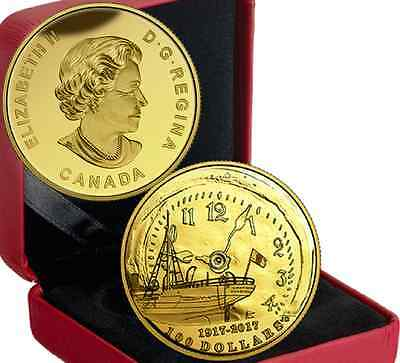 100th Anniversary Halifax Explosion $100 14-karat 27mm 12gram Gold Coin 2017