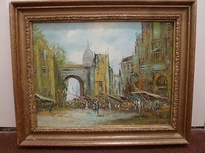 Lovely Impressionist painting of a continental market, mid 20th century, signed
