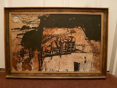 Beautiful abstract mixed media on board, signed, C. Wild