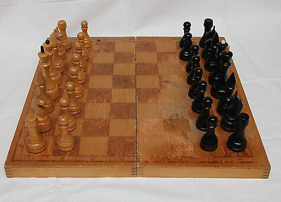 RARE Russian  Soviet  USSR wooden big chess set and wooden board