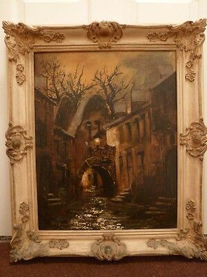 Stunning impressionist painting of a Dutch courtyard at night, signed LaCroix