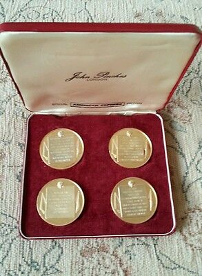 WINSTON CHURCHILL 1970 GOLD PLATED 44mm SILVER 4 MEDAL AMEX SET - by cornell