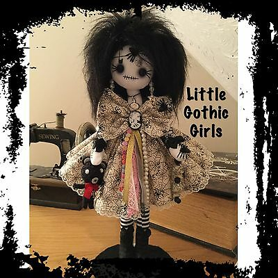 "Marlo the 12"" Gothic hand made rag doll by Little Gothic Girls"