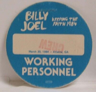 Billy Joel - Original Concert Tour Cloth Backstage Pass ***last One***