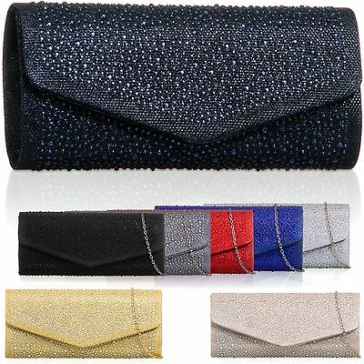Glitter Diamante Women Ladies Evening Clutch Bag Bridal Bridesmaid Party Handbag