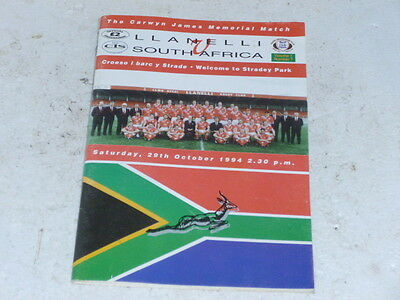 llannelli v south africa rugby programme 29/oct./1994