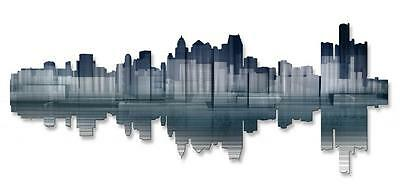 Detroit Reflection Modern City Painting on Metal Wall Art Sculpture by Ash Carl