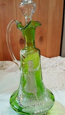 mary gregory glass decanter vintage and original