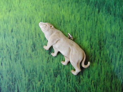 Pendant Necklace Cougar Lion From Buffalo Bone Carved with Silver 925_b210