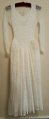 Stunning Antique Handmade White Lace Wedding Dress With Padded Hips