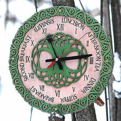 Celtic knots mealtimes wooden wall clock Fork and spoon edition unique kitchen