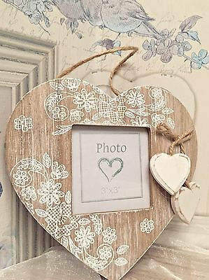 Shabby Chic Rustic Vintage Wooden Hanging Heart Photo Picture Frame Home Gift