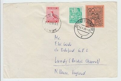 Lundy 1959 Standing Puffin On Incoming Mail From East Germany / Cover