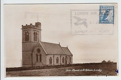 Lundy 1951 Air Post Boxed Cancel On 1 P By Air Opt St Helena's Church View Pc