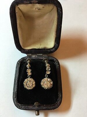 Vintage Antique Silver Sterling Paste Cluster Earrings Drop English