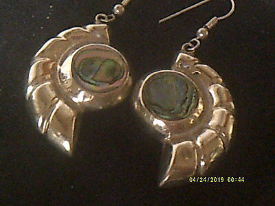 Unusual Vintage Mexican Alpaca And Abalone Shell Earrings.superb.