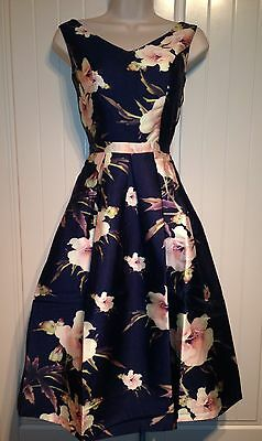 50s Floral Fit And Flare Midi Cocktail Party Evening Dress Size 8 10 12 14 16 18