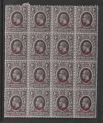 Block of 16 1cent GV East Africa and Uganda Protectorate GEA overprinted MNH