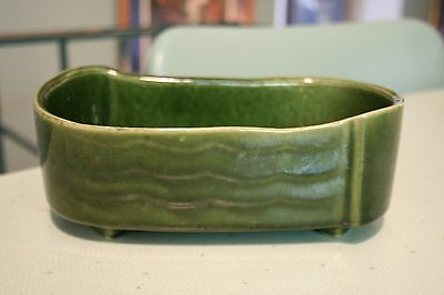 Vintage UPCO Ungemach Pottery Green Wave Art Oblong Planter Dish USA 261