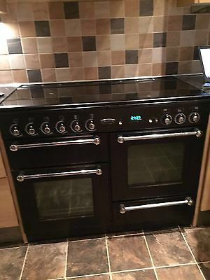 Rangemaster Black and Chrome Range Cooker 1100w Duel Fuel Kitchen Range With Lid