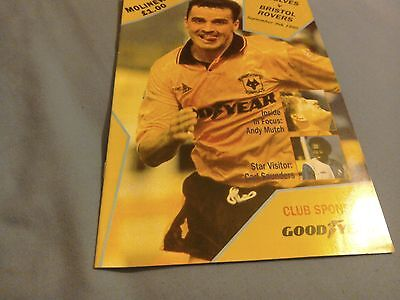 Wolves v Bristol Rovers rare league programme from 1990
