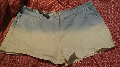 Ombre Blue & White Light Denim Shorts UK Size 18 New With Tags