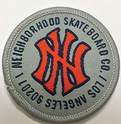 "Neighborhood Skateboards Vintage Embroidered Patch 2"" Circle -Grey"