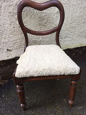 Victorian Antique Balloon Back Mahogany Chair Upholstery Project Drop In Seat