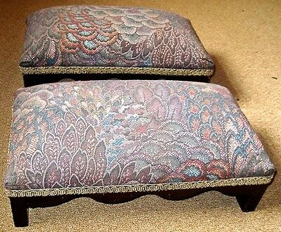 Vintage Pair of Petite UPHOLSTERED FOOTSTOOLS. 12cms high.