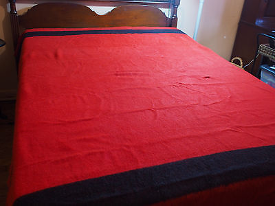 "Vintage Trapper Point Red 4 Point Wool Blanket / Made in England 74"" x 88"""