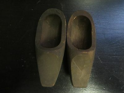 Antique 1 Pair of Old Little Wooden Shoes