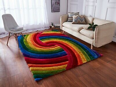 Modern Small Large Rainbow  Rugs All Floors Multi Colour Design  Luxurious Rug