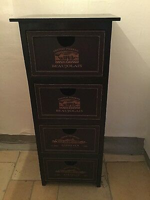 Wooden Filing Cabinet with leather look drawers