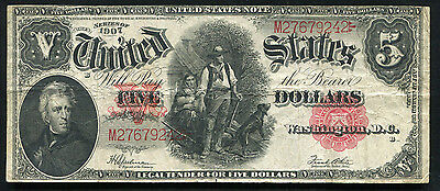 "Fr. 91 1907 $5 Five Dollars ""Woodchopper"" Legal Tender United States Note Vf"