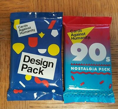 Lot of 2 New Cards Against Humanity Expansion Packs 90s Nostalgia + Design Pack